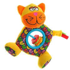 <b>Погремушка</b>-<b>Пищалка</b> 15 см, <b>Кот</b>, развивающая мягкая игрушка ...