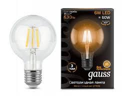 Светодиодная <b>лампа Gauss LED Filament</b> G95 E27 6W Golden ...