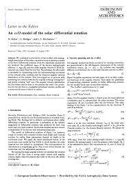 (PDF) An alpha Omega-<b>model</b> of the <b>solar</b> differential <b>rotation</b>
