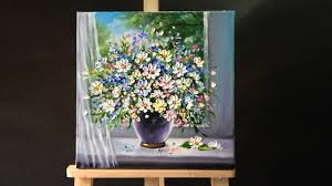 Palette <b>knife flower painting</b> - YouTube