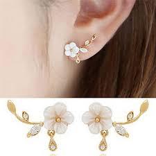 HBPH <b>Fashion</b> Crystal Rhinestone <b>Stud Earrings Shell</b> Flower ...