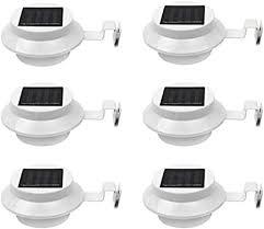 6 Pack Deal - <b>Outdoor</b> Solar <b>Gutter LED</b> Lights - White Sun Power ...