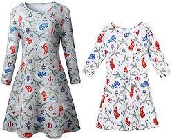 Vawal <b>Mother Daughter</b> Christmas Santa Dress Long Sleeve Ruffle ...