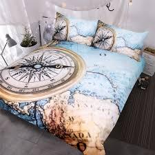 BlessLiving World <b>Map Bedding Set</b> 3D Compass Printed Duvet ...