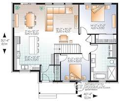 House plan W  V detail from DrummondHousePlans com    st level Open concept modern bungalow   large bedrooms   Erindale