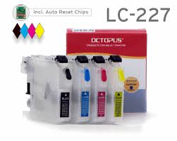 Refillable cartridges for Brother LC-227 BK, LC-225 with <b>autoreset</b> ...