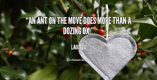 An ant on the move does more than a dozing ox. - Lao Tzu at ...