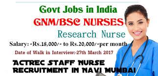 nurses job vacancy actrec staff nurse recruitment latest actrec staff nurse recruitment 2017 latest govt jobs in navi mumbai
