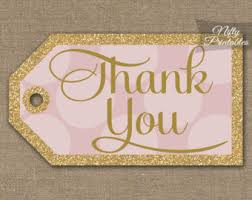 Pink Gold Thank You Tags   Printable Gold Glitter Pink Favor Tags   Baby Shower   Bridal Shower   Wedding Birthday   Pink Thank You Tags PHD Etsy