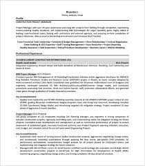 project manager resume template –   free word  excel  pdf format    construction project manager resume free pdf