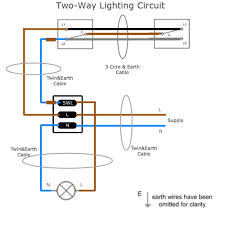 two way lighting circuit wiring sparkyfacts co uk two way lighting circuit this circuit diagram describes the wiring