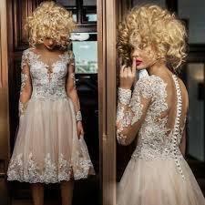<b>Vintage Champagne</b> Sheath Short Wedding Dresses Bridal Gown ...