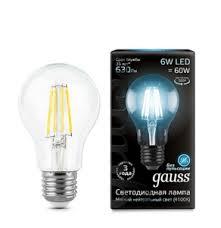 <b>Лампа Gauss LED</b> Filament <b>A60</b> E27 6W 4100К 102802206