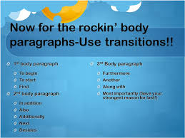 ways to start a paragraph in persuasive essay   essay topicsnow for the rockin  body paragraphs use transitions  rd paragraph  the persuasive essay simple ways to rock prompt ppt  best way to start