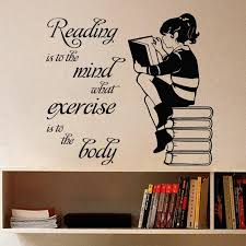 <b>Girl Reading</b> Book <b>Vinyl</b> Wall Sticker For Kids Room Mural Quote ...