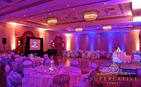 two toned wireless uplighting blue and amber blue wedding uplighting