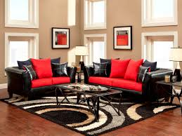 f excellence small formal living room decorating ideas using black and red fabric leather sofa set with decorative ivory drum shade table lamps and black and red furniture
