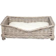 Grey Rectangular Wicker <b>Pet</b> Basket With White Cushion Small ...