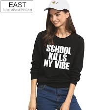 EAST KNITTING H1008 <b>School Kills My Vibe</b> Women Pullover Black ...