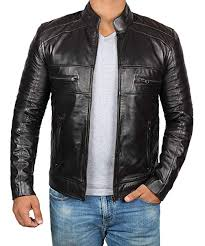 <b>Brown Leather</b> Jacket Mens - Cafe Racer <b>Real</b> Lambskin <b>Leather</b> ...