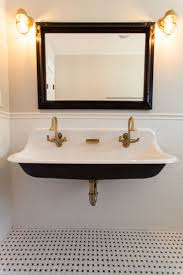dog faces ceramic bathroom accessories shabby chic: trough sink with brass hardware  trough sink with brass hardware