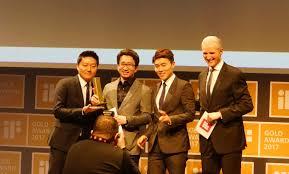 recognized design hyundai elevator nabs gold prize at if design a representative from hyundai elevator receives the gold prize at if design award