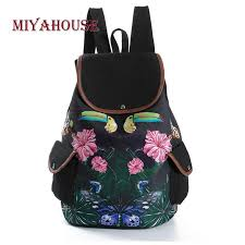 Miyahouse Retro <b>Floral Printed Canvas</b> Backpack For Teenagers ...
