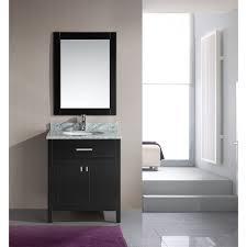 element contemporary bathroom vanity set: design element london quot single vanity with white carrera countertop sink and mirror espresso