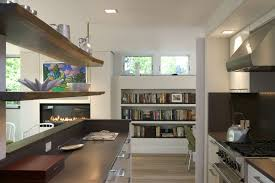 kitchen cabinets home office transitional: built in book shelves kitchen modern with black bookcase built in book