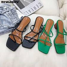 <b>TINGHON</b> Women Mature PVC Basic Sandals Transparent Cross ...
