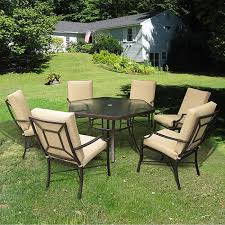 patio table and 6 chairs: hexagon patio table with black patio furniture and cream cushion patio chairs full size
