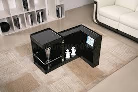 black high gloss finish modern end table wmini bar black mini bar