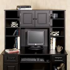 black solid wood cabinet with computer desk and 8 open shelves also double swing door panel black computer desks home