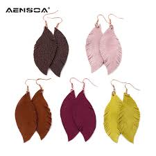 <b>2019</b> AENSOA Feather Real Goat Leather Earrings For Fashion ...
