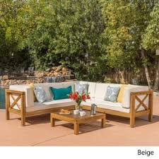 brava outdoor 4 piece wood sectional set w cushions by christopher knight home brown set patio source outdoor