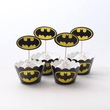 <b>24pcs</b>/lot Batman Party Paper Cupcake <b>Wrappers</b> Toppers For Kids ...