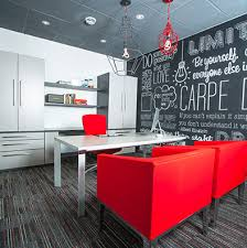 modern office interior with red chairs budget office interiors