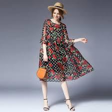 Plus Cute Floral <b>Chiffon Dresses Women</b> Loose <b>Summer Clothes</b> ...