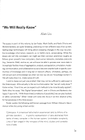alan liu essays we will really know