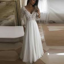 Long Sleeves Lace Cheap <b>Wedding Dress</b> Modest 2018 A line Two ...
