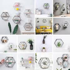 <b>Iron Hexagonal Grid Wall</b> Shelf Combination Wall Hanging ...