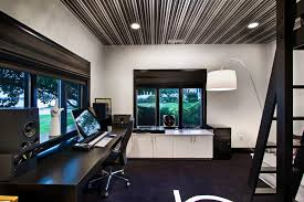 black and white home office with striped ceiling black and white home office