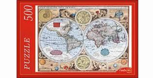 рыжий кот пазл старинная карта мира 500 элементов