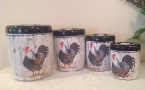 Rooster Chicken Kitchen Decor Rooster Canister Set4 Piece Vintage Upcycled Canister