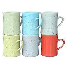 Ceramic Vintage Coffee Mugs - Set of 6 Multicolored ... - Amazon.com