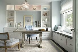 modern in montvale inspiration for a transitional home office remodel in new york with blue walls bright home office design