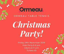 Ormeau <b>Christmas Club Party</b> | Ormeau Table Tennis Belfast ...