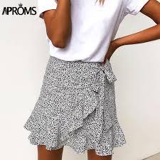 <b>Aproms Multi</b> Dot Print Short Mini Skirts Women Summer Ruffle High ...