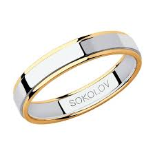 Обручальное <b>кольцо</b> из <b>комбинированного</b> золота <b>SOKOLOV</b> ...
