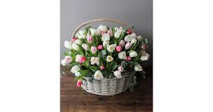 101 тюльпан в корзине №<b>1101</b>